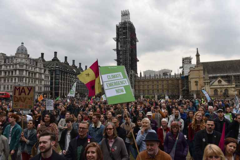 Climate protesters demonstrate in front of UK Parliament in Westminster